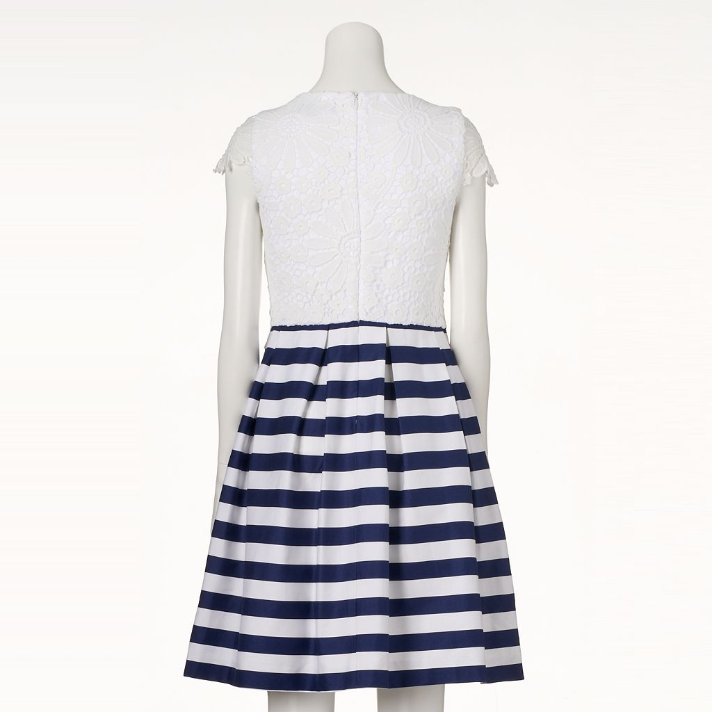 Women's DR by Donna Ricco Lace Striped Fit & Flare Dress