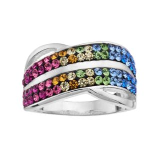 Crystal Radiance Silver Plated Multi Color Ring
