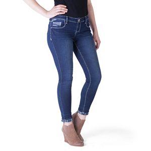 Juniors' Amethyst Plaid Pocket Skinny Jeans