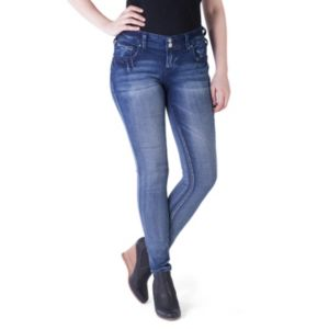 Juniors' Amethyst Faded Denim Jeggings