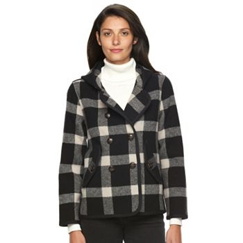 Woolrich Century Women's Hooded Plaid Wool Blend Peacoat