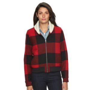 Women's Woolrich Buffalo Check Wool Blend Bomber Jacket