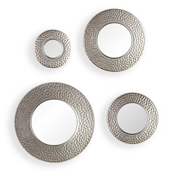 Hammered Sphere Wall Mirror 4-piece Set