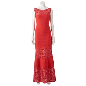 Women's Chaya Lace Shutter-Stripe Evening Gown