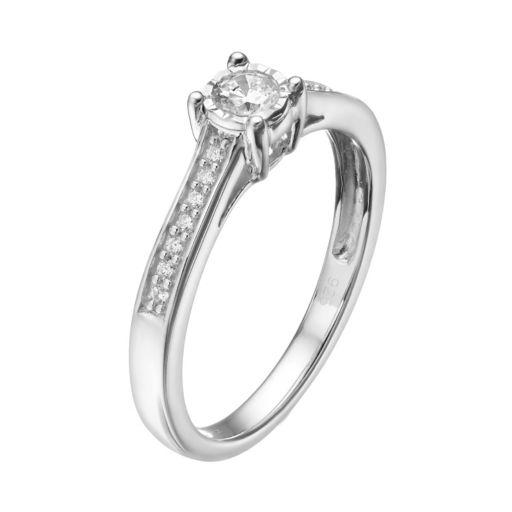 10k White Gold 1/4 Carat T.W. Diamond Engagement Ring