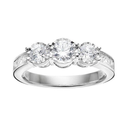 10k White Gold 1 Carat T.W. Diamond 3-Stone Engagement Ring