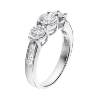 10k White Gold 1 Carat T.W. Diamond 3-Stone Engagement Ring