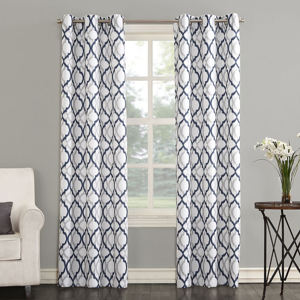 The Big OneR Leon Semi Sheer Trellis Scroll Window Curtain Set