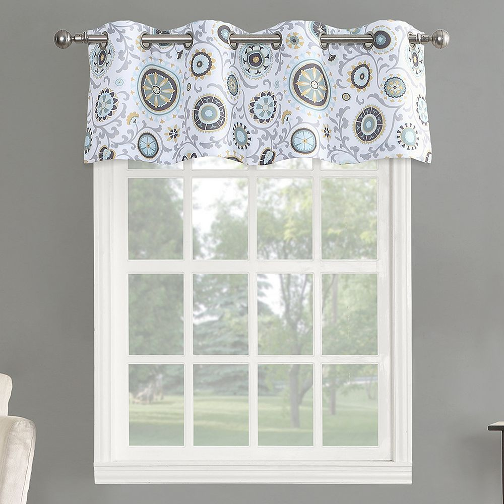 x curtain com dp room gray yellow darkening valance lush nursery window amazon leah kitchen decor inch home