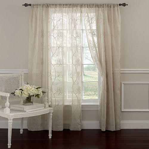 Laura Ashley 1-Panel Frosting Sheer Window Curtain