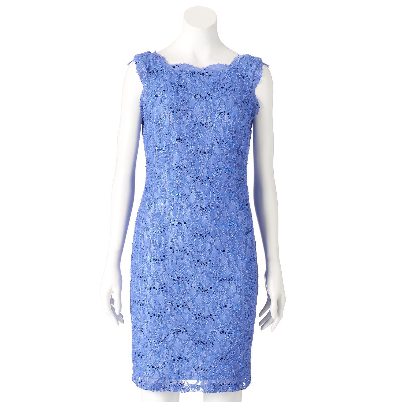 Womens Scarlett Sequin Lace Sheath Dress