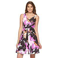 Women's Suite 7 Floral Fit & Flare Taffeta Dress