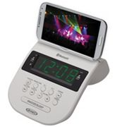 Jensen Bluetooth Clock Radio with Smartphone Holder
