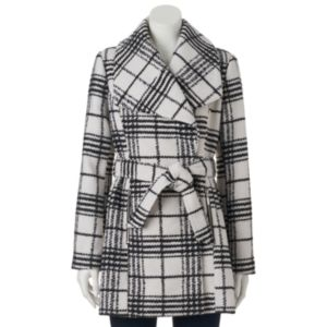Juniors' IZ Byer California Belted Plaid Faux-Wool Coat