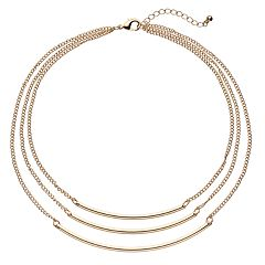 Curved Bar Multi Strand Necklace