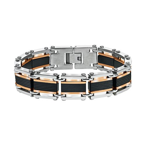 AXL by Triton Men's Tri-Tone Stainless Steel Bracelet
