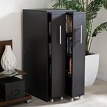 Baxton Studio Lindo Bookcase and Dual Pull-Out Shelving Cabinet