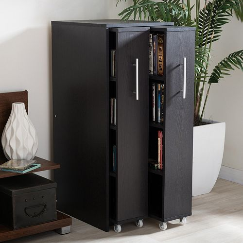Baxton Studio Lindo Bookcase And Dual Pull Out Shelving Cabinet
