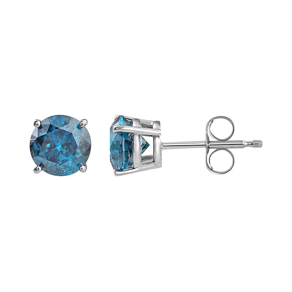 10k White Gold 1 1/2 Carat T.W. Blue Diamond Stud Earrings