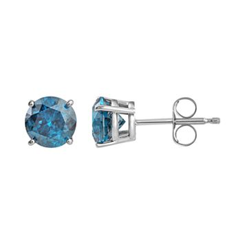 10k White Gold 1 1/2 Carat T.W. Blue Diamond Stud Earrings