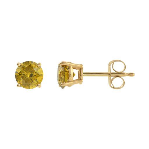 14k Gold 1 Carat T.W. Yellow Diamond Stud Earrings