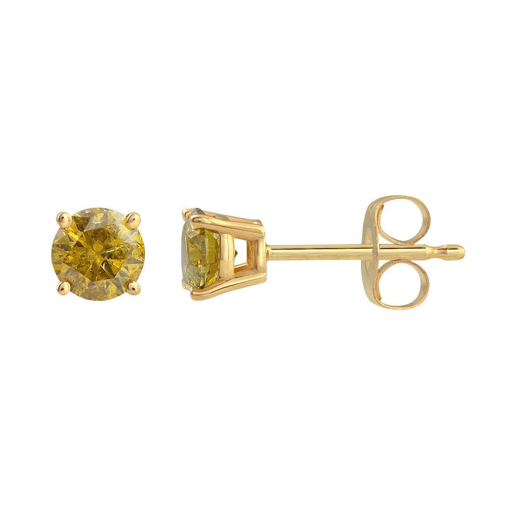 14k Gold 1/2 Carat T.W. Yellow Diamond Stud Earrings