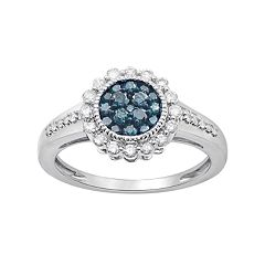 10k White Gold 1/2 Carat T.W. Blue & White Diamond Halo Ring