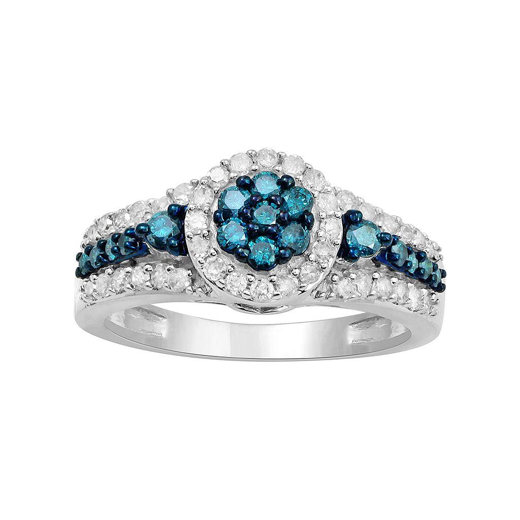 10k White Gold 3/4 Carat T.W. Blue & White Diamond Halo Ring