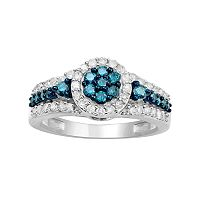 10k White Gold 3/4 Carat T.W. Blue & White Diamond Halo Ring