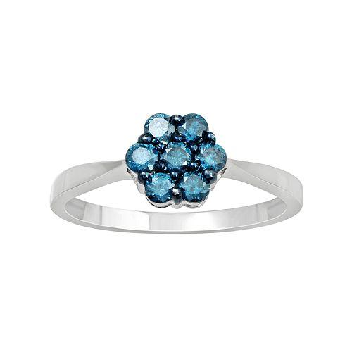 10k White Gold 1/2 Carat T.W. Blue Diamond Flower Ring