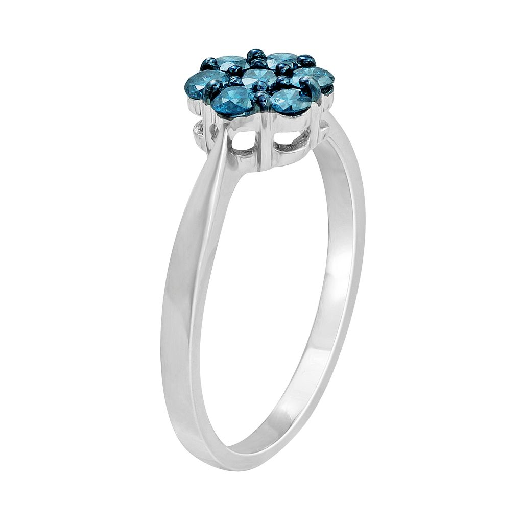 10k White Gold 1/2 Carat T.W. Blue Diamond Flower Ring