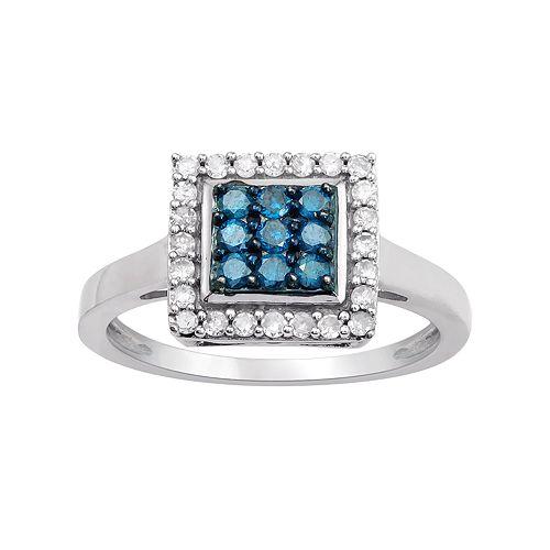 10k White Gold 1/2 Carat T.W. Blue & White Diamond Square Halo Ring