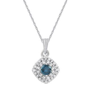 10k White Gold 1/4 Carat T.W. Blue & White Diamond Pendant Necklace