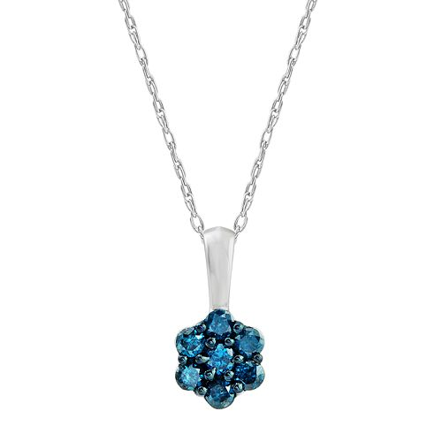 10k White Gold 1/4 Carat T.W. Blue Diamond Flower Pendant Necklace