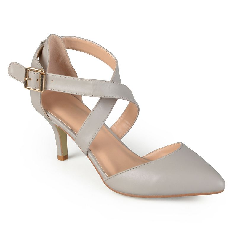 Flaunt a sleek, strappy design in these Riva pumps by Journee Collection.SHOE FEATURES Crisscross ankle strap Kitten heel SHOE CONSTRUCTION Faux leather upper & lining Rubber outsole SHOE DETAILS Pointed toe Buckle closure 2.75 -in. heel  Size: Medium (11). Color: Grey. Gender: female. Age Group: adult.
