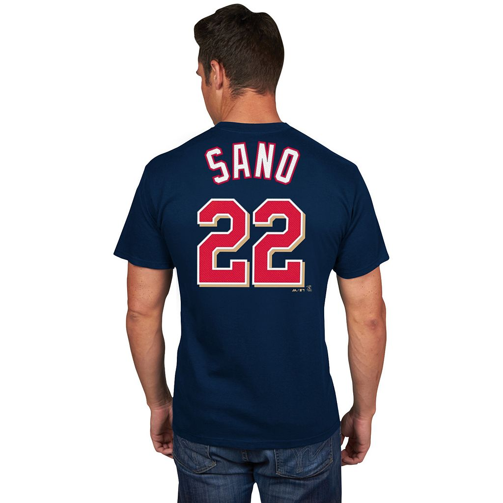Men's Majestic Minnesota Twins Miguel Sano Player Name and Number Tee