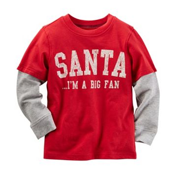 Baby Boy Carter's Santa Fan Thermal Mock-Layered Long Sleeve Tee