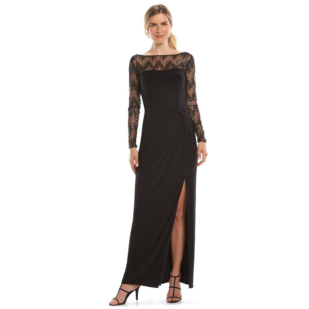 Women's Chaps Sequined-Yoke Evening Gown