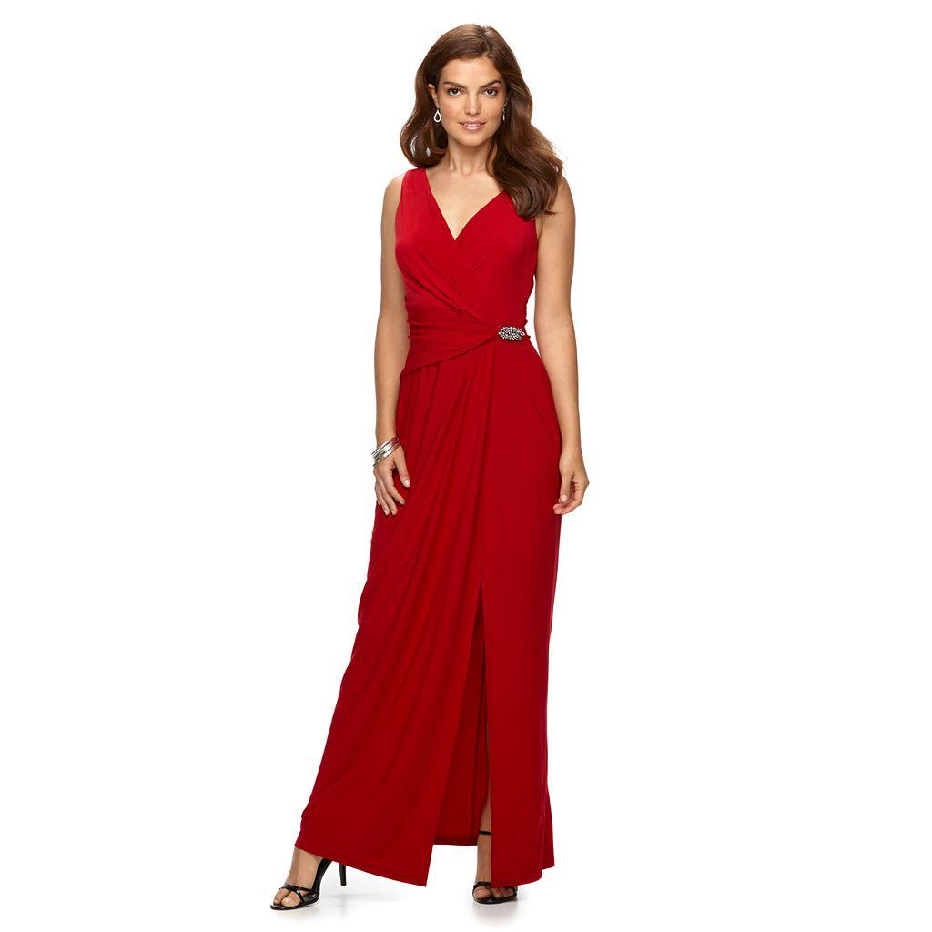 Women's Chaps Embellished Surplice Faux-Wrap Evening Gown