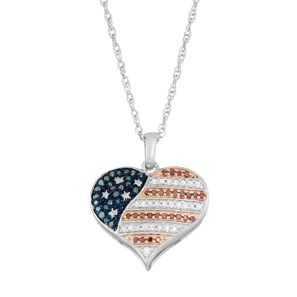 Sterling Silver 14 Carat Tw Red White Blue Diamond Heart