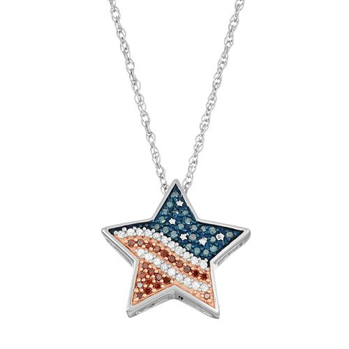 Sterling Silver 1/5 Carat T.W. Red, White & Blue Diamond Star Pendant Necklace