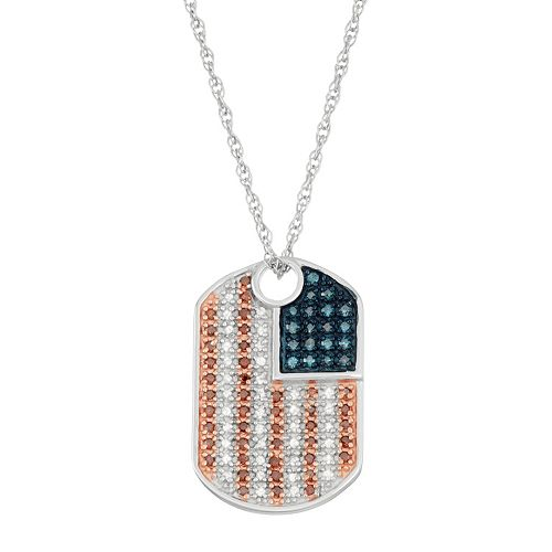 Sterling Silver 1/3 Carat T.W. Red, White & Blue Diamond Dog Tag Necklace