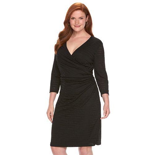Plus Size Chaps Chevron-Knit Faux-Wrap Dress