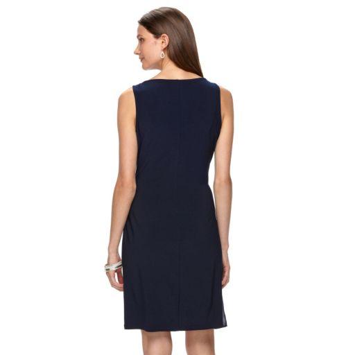 Women's Chaps Embellished Chiffon Draped Evening Dress