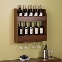 Prepac 2-Tier Floating Wine and Liquor Rack by
