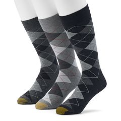 Men's Extended Length GOLDTOE 3-pack Carlyle Argyle Dress Socks