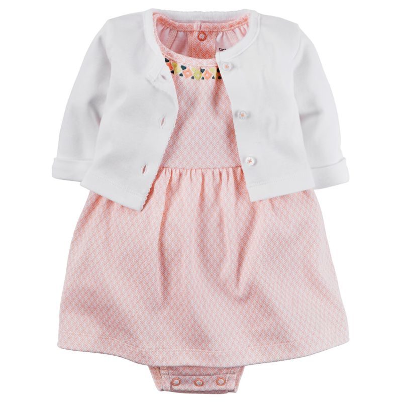 Baby girl carter s geometric dress amp cardigan set size 9 months
