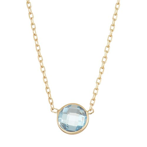 10k Gold Lab-Created Aquamarine Circle Pendant Necklace