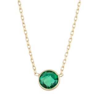10k Gold Lab-Created Emerald Circle Pendant Necklace