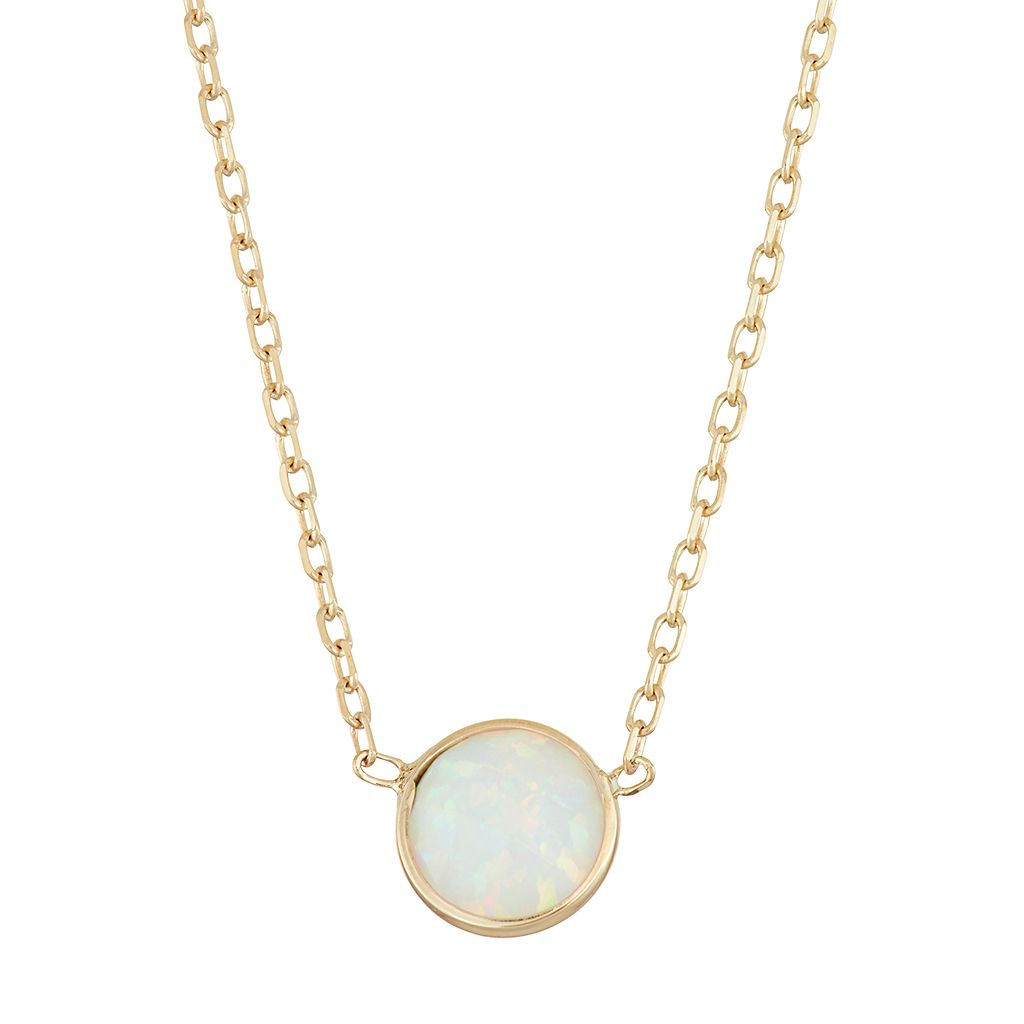 10k Gold Lab-Created Opal Circle Pendant Necklace